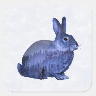 Misty forest bunny square sticker