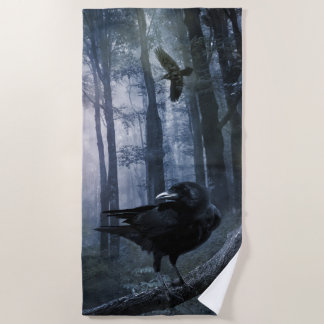 Misty Forest Crows Beach Towel