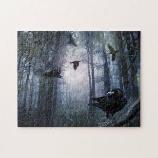 Misty Forest Crows Puzzle