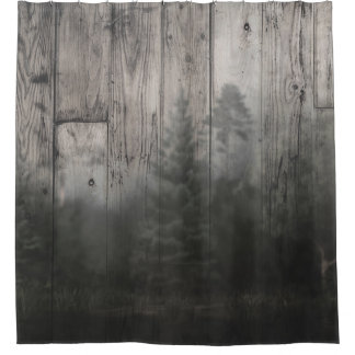 Misty Forest Lake Pine Trees & Wood Rustic