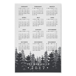 Misty Forest | Personalized 2017 Calendar Poster