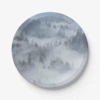 Misty Forest Valley Paper Plate