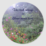 Misty Garden Bookplate Round Stickers