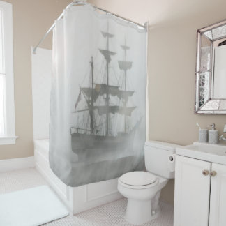 Misty Gray Foggy Old or Pirate Ship Art