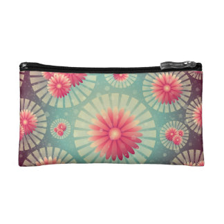 Misty Green and Pink Daisies Cosmetic Bag