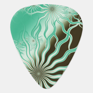 Misty Green Brown Rays Fractal Guitar Pick