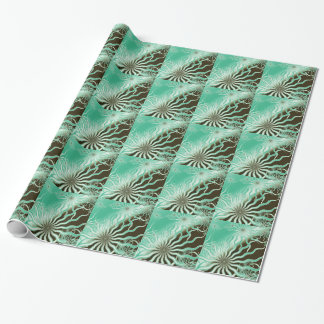 Misty Green Brown Rays Tiled Wrapping Paper