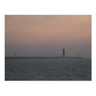 Misty Lake Michigan Lighthouse Postcard