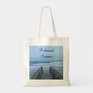 Misty Morning Beach and Pier Wedding Bridesmaid's Tote Bag