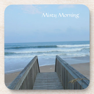 MISTY MORNING Beach Waves at the Pier Photograph Drink Coasters