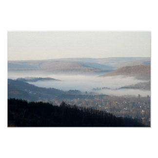 Misty Morning in Wellsville, NY Poster