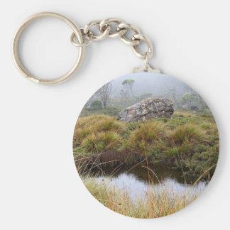 Misty morning reflections, Tasmania, Australia Keychain