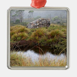 Misty morning reflections, Tasmania, Australia Silver-Colored Square Ornament