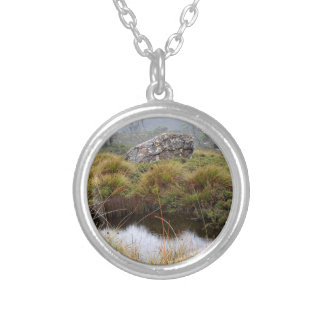 Misty morning reflections, Tasmania, Australia Silver Plated Necklace