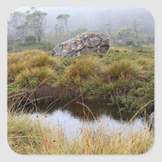 Misty morning reflections, Tasmania, Australia Square Sticker