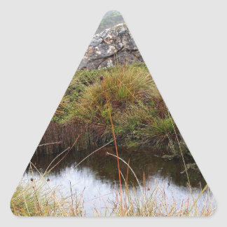 Misty morning reflections, Tasmania, Australia Triangle Sticker