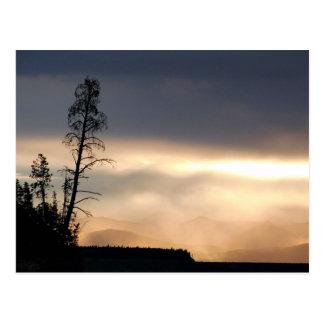 Misty morning sunrise postcard