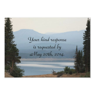 Misty Mountain Lake Wedding RSVP 3.5x5 Paper Invitation Card