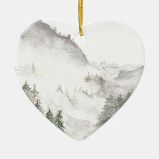 Misty Mountains Ceramic Heart Ornament