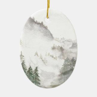 Misty Mountains Ceramic Oval Ornament