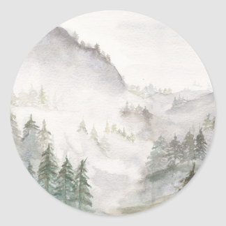 Misty Mountains Classic Round Sticker