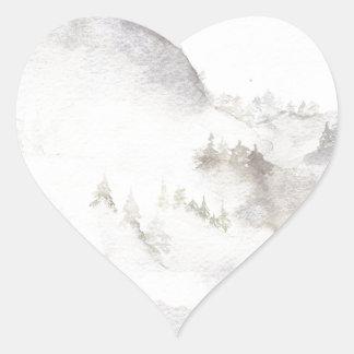 Misty Mountains Heart Sticker