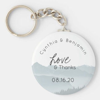 Misty Mountains Key Ring Wedding Favour Love Basic Round Button Keychain