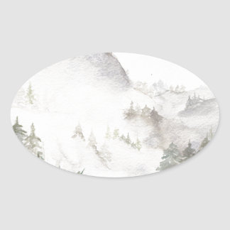 Misty Mountains Oval Sticker