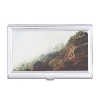 Misty Mountains, Relaxing Nature Landscape Scene Business Card Holder