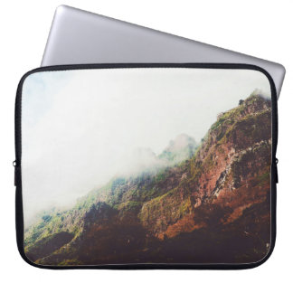 Misty Mountains, Relaxing Nature Landscape Scene Computer Sleeves