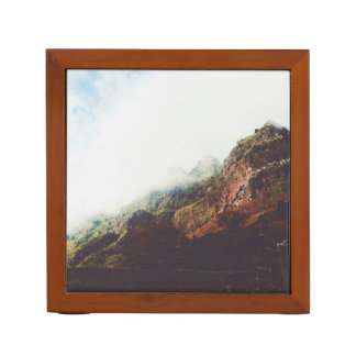 Misty Mountains, Relaxing Nature Landscape Scene Desk Organizer