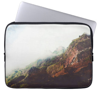 Misty Mountains, Relaxing Nature Landscape Scene Laptop Computer Sleeve