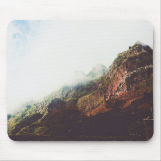 Misty Mountains, Relaxing Nature Landscape Scene Mouse Pad
