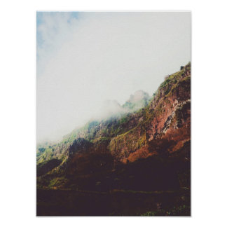 Misty Mountains, Relaxing Nature Landscape Scene Poster
