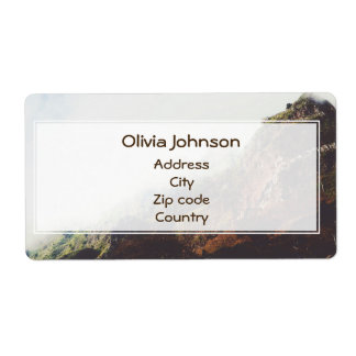 Misty Mountains, Relaxing Nature Landscape Scene Shipping Label