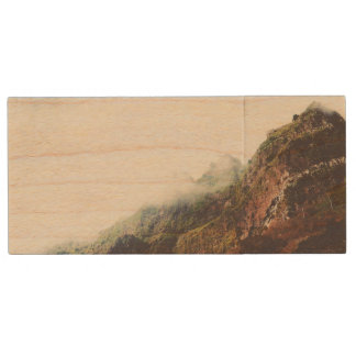 Misty Mountains, Relaxing Nature Landscape Scene Wood USB 2.0 Flash Drive
