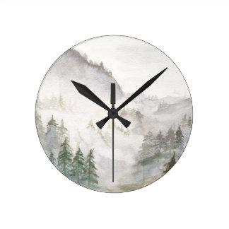 Misty Mountains Round Clock