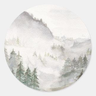 Misty Mountains Round Sticker