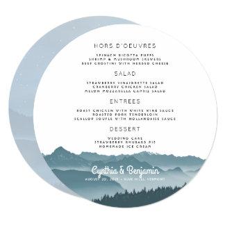 Misty Mountains Round Wedding Menu Template Card
