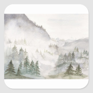 Misty Mountains Square Sticker