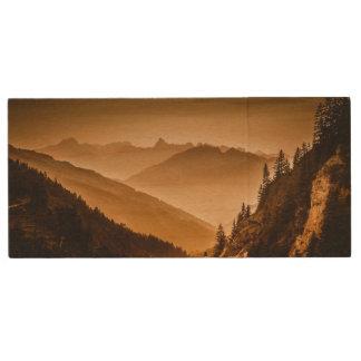 Misty mountains wood USB 2.0 flash drive