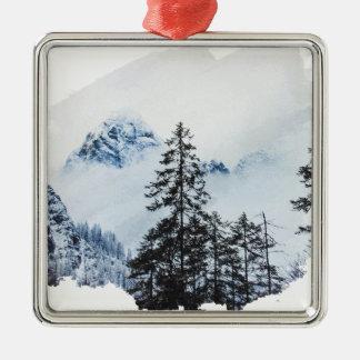 Misty peak Watercolor Metal Ornament