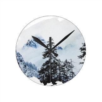 Misty peak Watercolor Round Clock