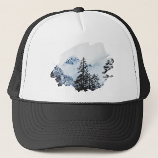 Misty peak Watercolor Trucker Hat