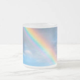 Misty rainbow frosted glass coffee mug