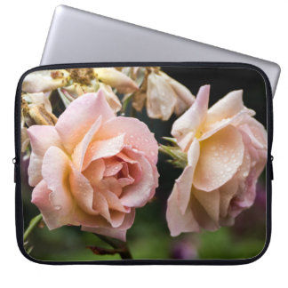 Misty Rose with Raindrops Laptop Sleeve