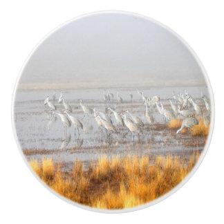 Misty Sandhill Cranes Ceramic Knob