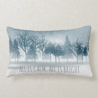 Misty Snowy Trees - Christmas Holiday Pillow