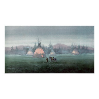 MISTY TIPI CAMP by SHARON SHARPE Poster