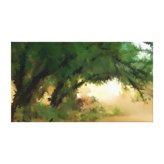 Misty Trees Painting Canvas Print